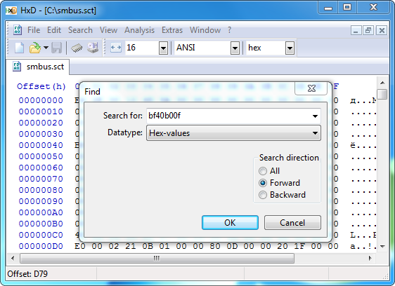 HxD Search Dialog
