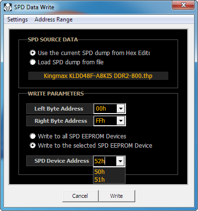 SPD Data Write dialog box